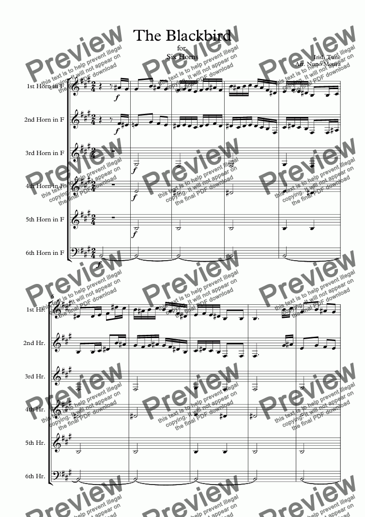 page one of The Blackbird for Horn Sextet