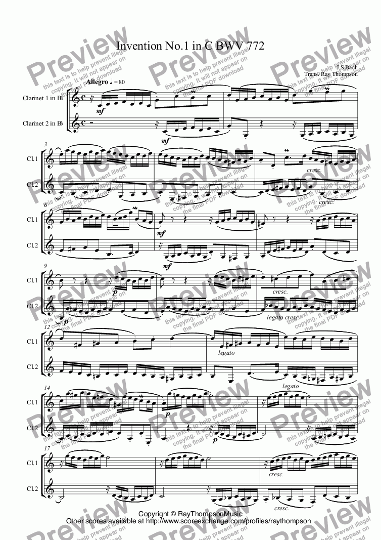 page one of Bach: Two part Invention No.1 in C BWV 772 arr. clarinet duet ( opt bs cl.)