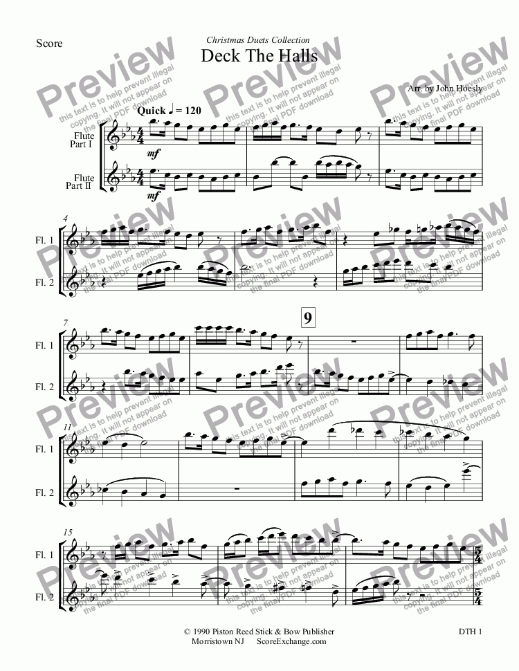 page one of Deck The Halls- duet flute and flute