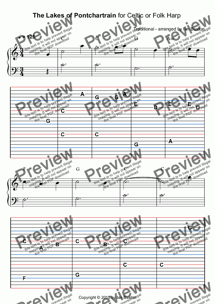 page one of The Lakes of Pontchartrain for Celtic or Folk Harp