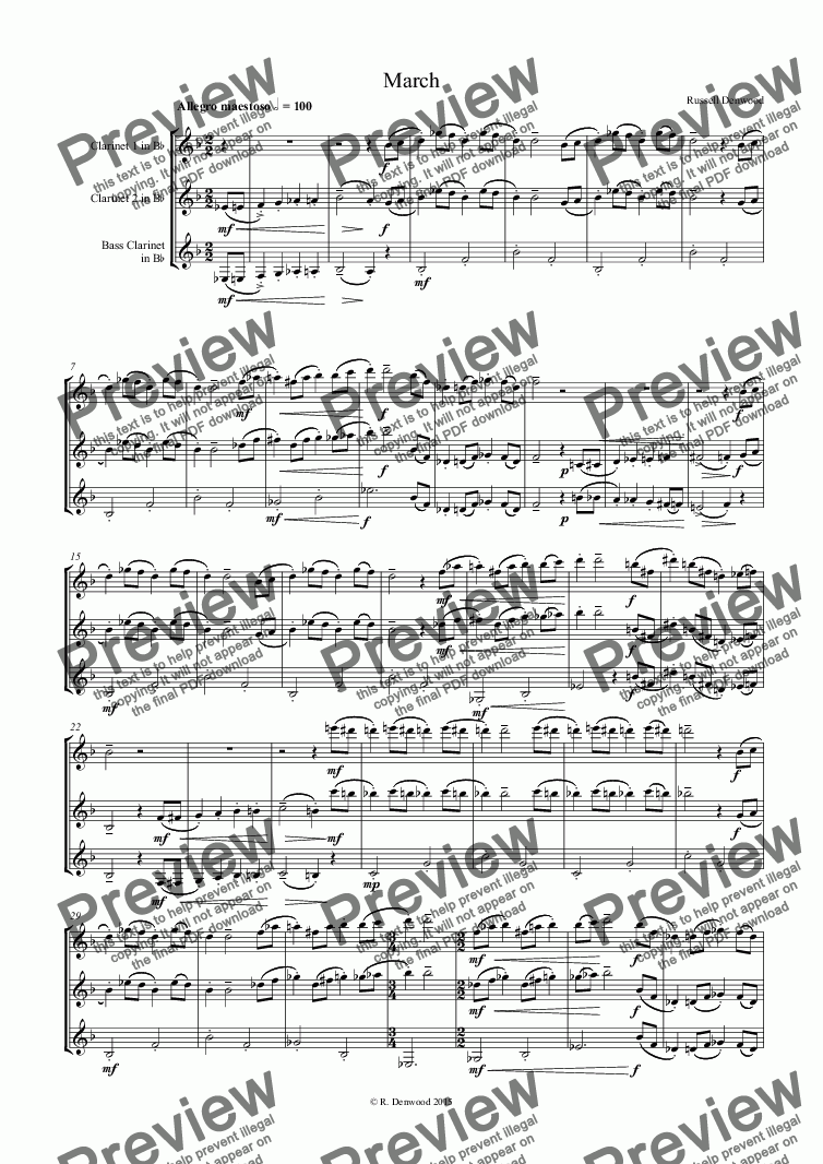 page one of Denwood - March for 3 clarinets (2 + Bass)ASALTTEXT