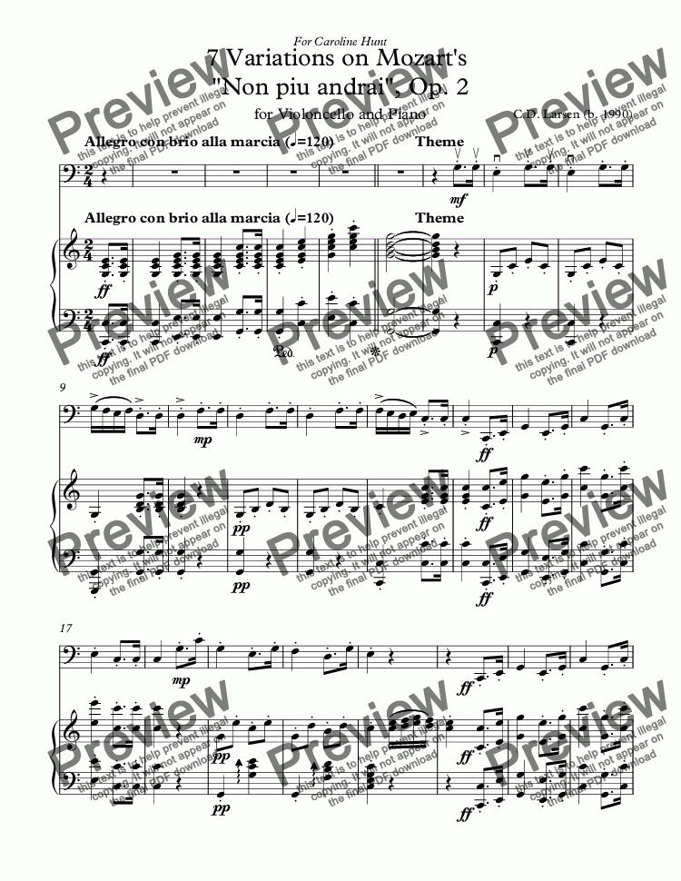"page one of 7 Variations on Mozart's  ""Non piu andrai"", Op. 2"