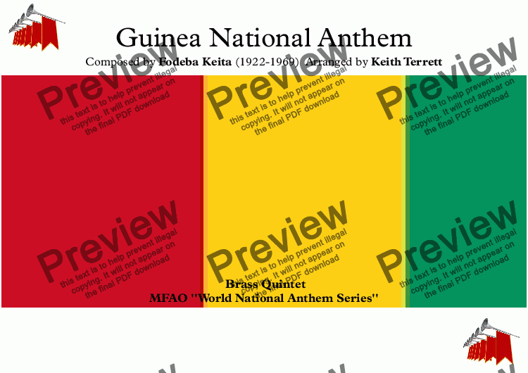 page one of Guinea National Anthem (Libertè) for Brass Quintet (MFAO World National Anthem Series)