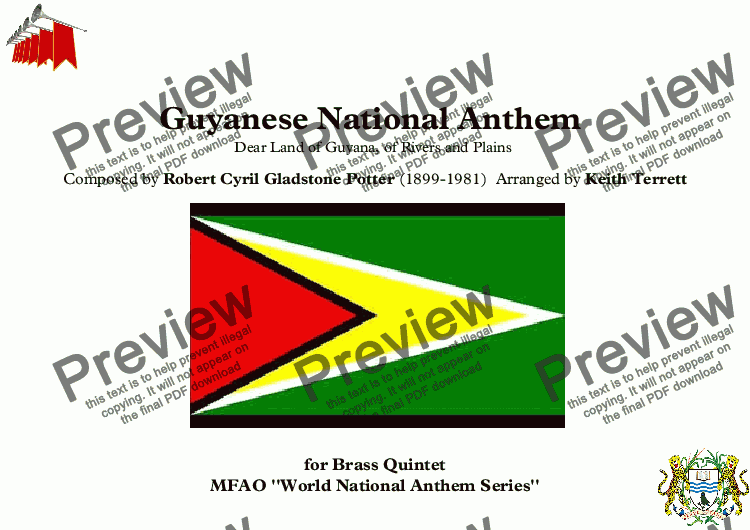 page one of Guyanese National Anthem for Brass Quintet (MFAO World National Anthem Series)