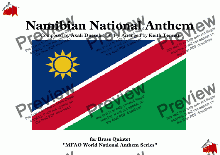 "page one of Namibian National Anthem ""Namibia, Land of the Brave"" for Brass Quintet (MFAO World National Anthem Series)"