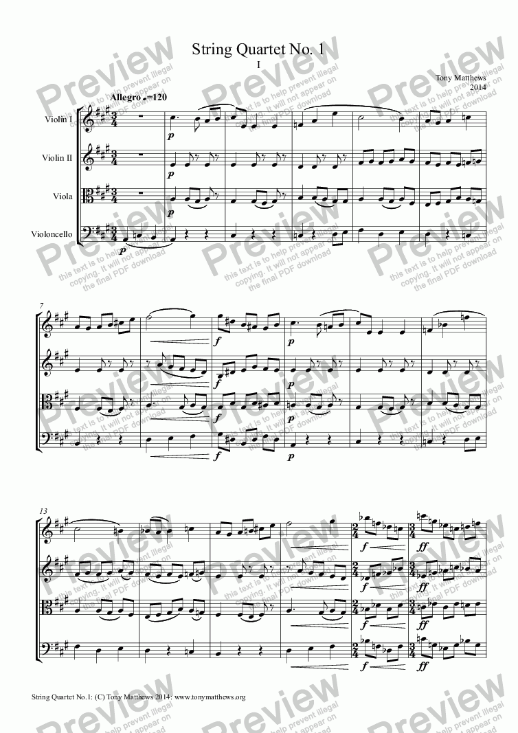 page one of String Quartet No. 1ASALTTEXT