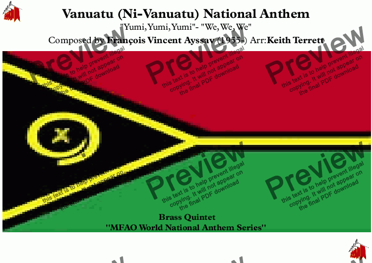 page one of Vanuatu National Anthem (