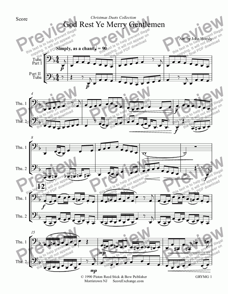 page one of God Rest Ye Merry Gentlemen- duet tuba and tubaASALTTEXT