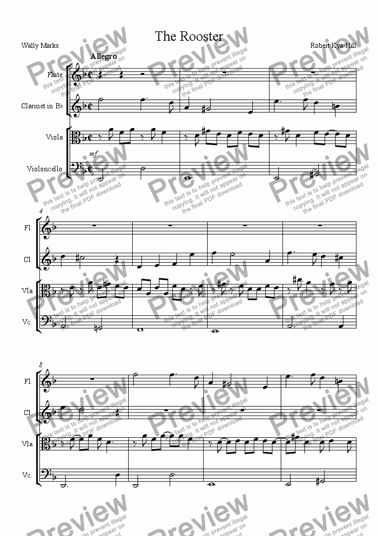 page one of The Rooster [ Flute, Clarinet in B Flat, Viola, and Cello]