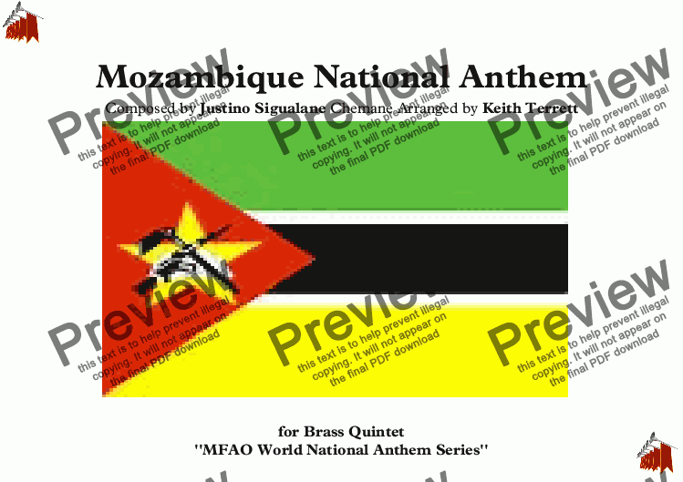 page one of Mozambique National Anthem ''Beloved Fatherland'' - ''Pàtria Amada'' for Brass Quintet (MFAO World National Anthem Series)