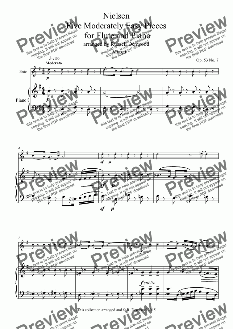 page one of Nielsen - Five Moderately Easy Pieces  for Flute and Piano