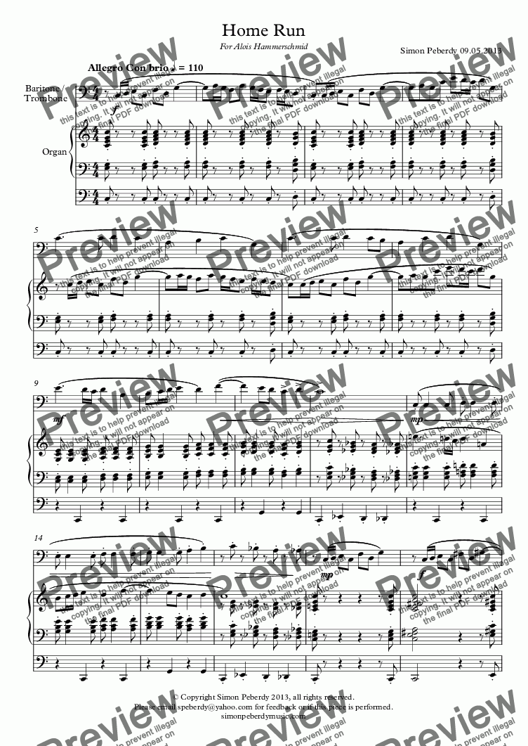 page one of Home Run for trombone/baritone & organ