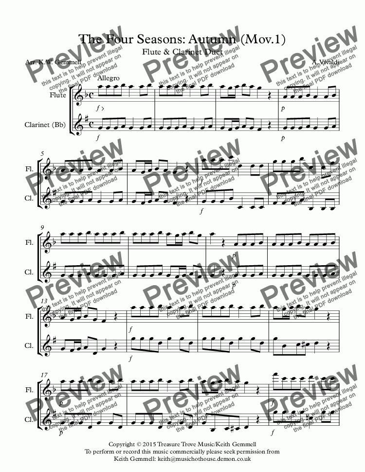 page one of The Four Seasons: Autumn (Mov.1)Flute & Clarinet Duet