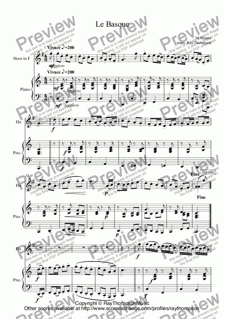 page one of Marais: Le Basque (solo horn with piano)