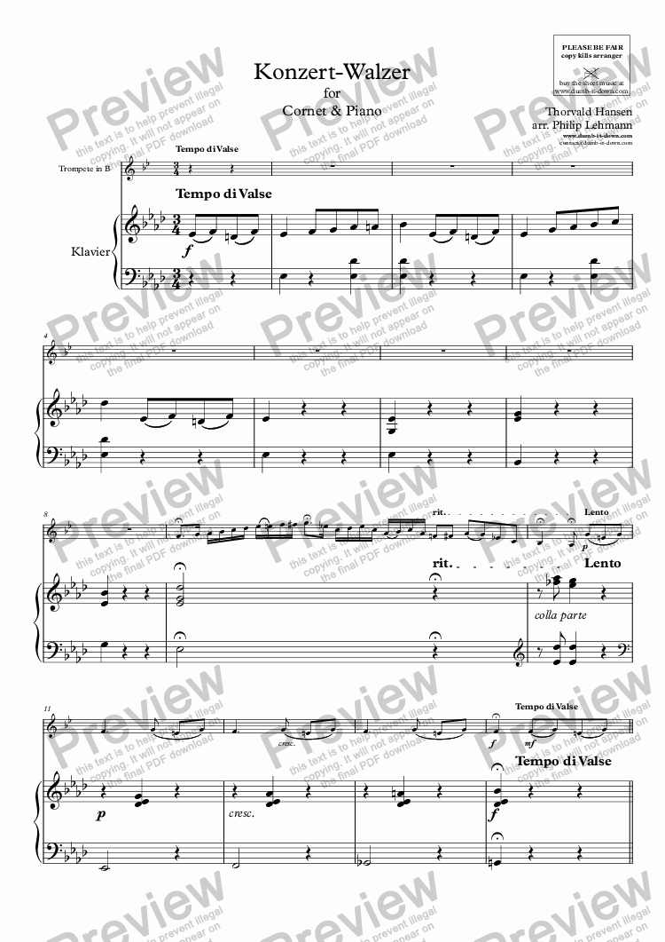 page one of Hansen, T. - Konzert-Walzer for Trumpet (orig.) & Piano (simplified)