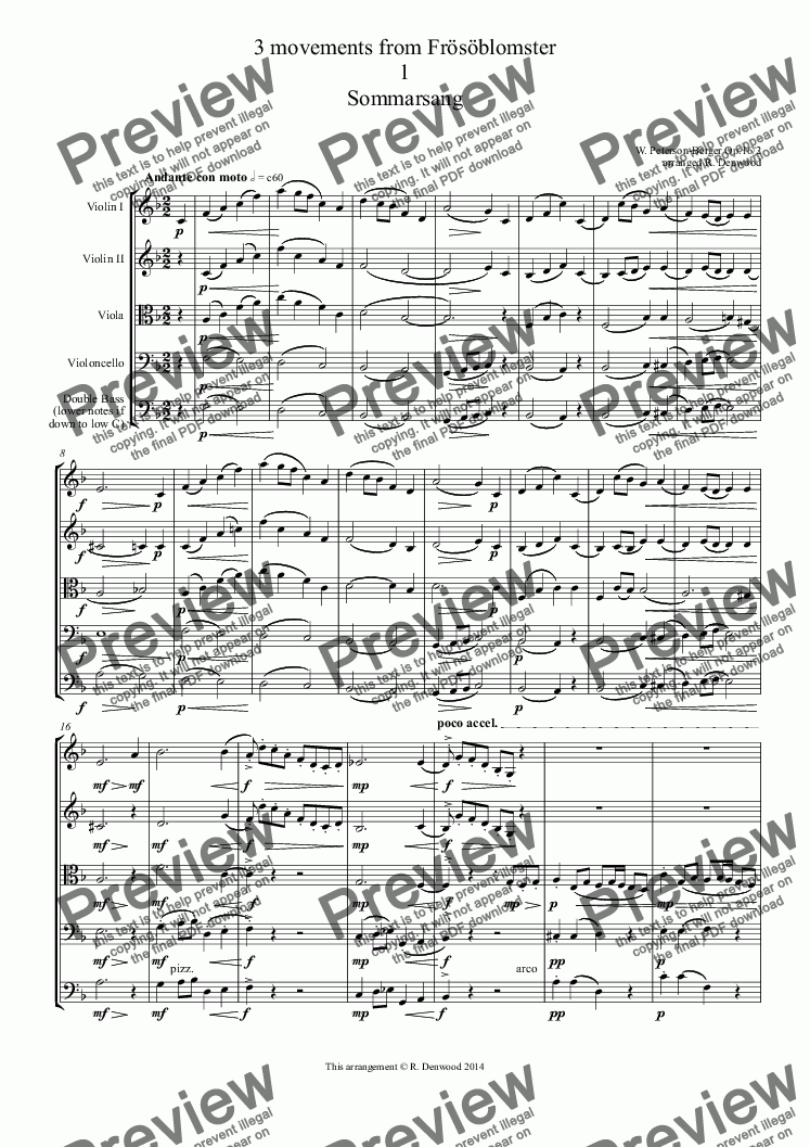 page one of Peterson-Berger - 3 movements from Frösöblomster (Op.16) arranged & simpified for string orchestra