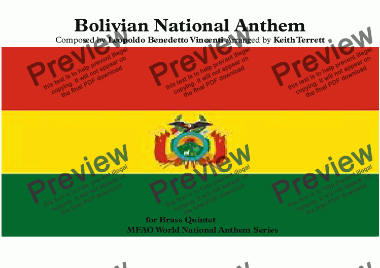 page one of Bolivian National Anthem (Canción Patriotica Himno Nacional de Bolivia),  (Bolivians, a most Favorable Destiny) for Brass Quintet  (World National Anthem Series)