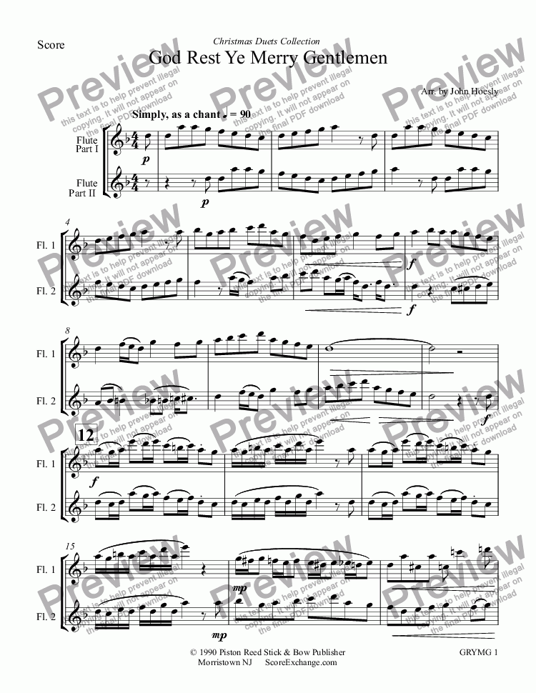 page one of God Rest Ye Merry Gentlemen- duet flute and flute