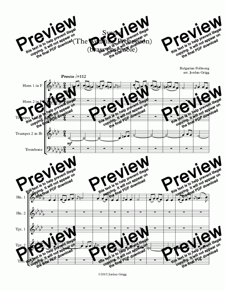 page one of Svatba (The Wedding Procession) (brass ensemble)