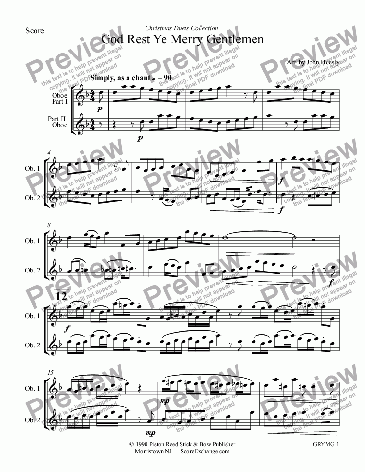 page one of God Rest Ye Merry Gentlemen- duet oboe and oboe