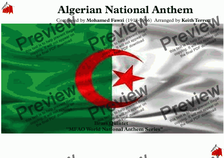 page one of Algerian National Anthem for Brass Quintet (MFAO World National Anthem Series)