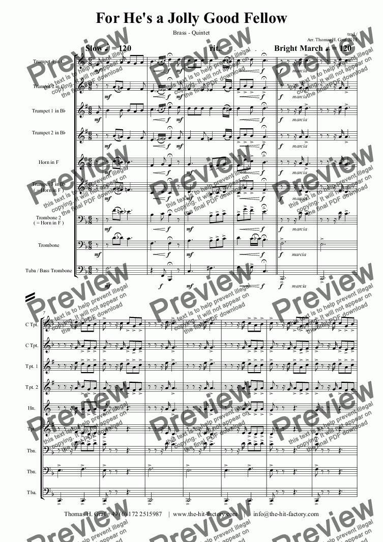 page one of For He's a Jolly Good Fellow - Folk Song and Toast  - Brass Quintet