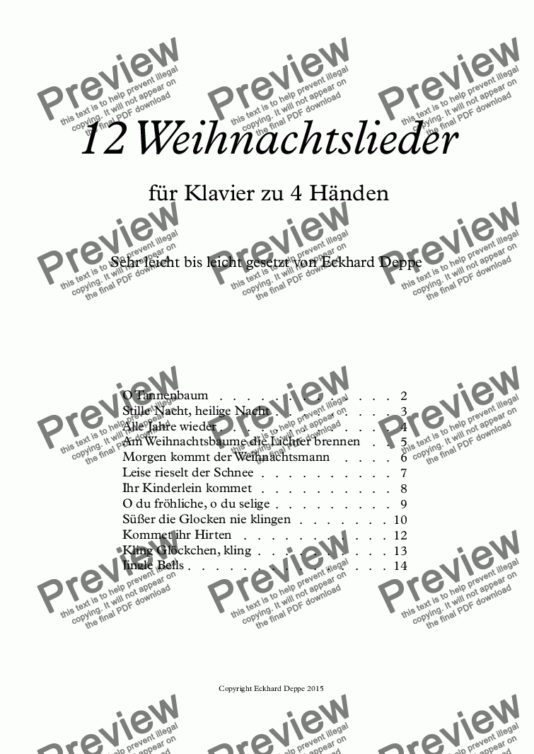 Weihnachtslieder Piano Tutorial.12 Weihnachtslieder 4 Händig For Piano Four Hands By E Deppe Sheet Music Pdf File To Download