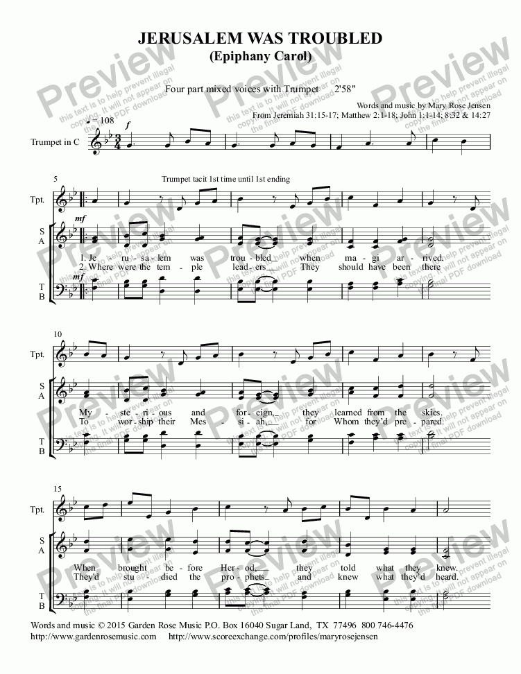 page one of Jerusalem Was Troubled (SATB choir + trumpet) Ephiphany anthemASALTTEXT