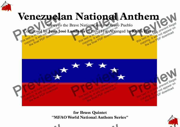 page one of Venezuelan National Anthem (Glory to the Brave Nation) for Brass Quintet (MFAO World National Anthem Series)