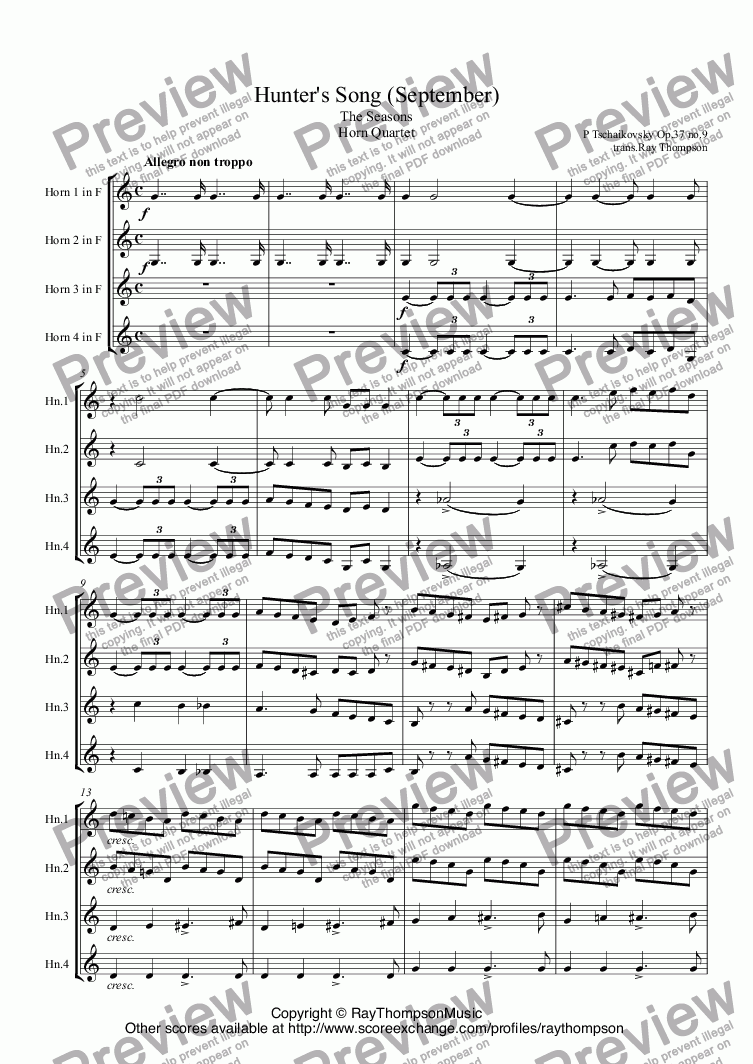 page one of Tchaikovsky: The Seasons Op.37a No.9 September (Hunter's Song) arr.horn quartetASALTTEXT