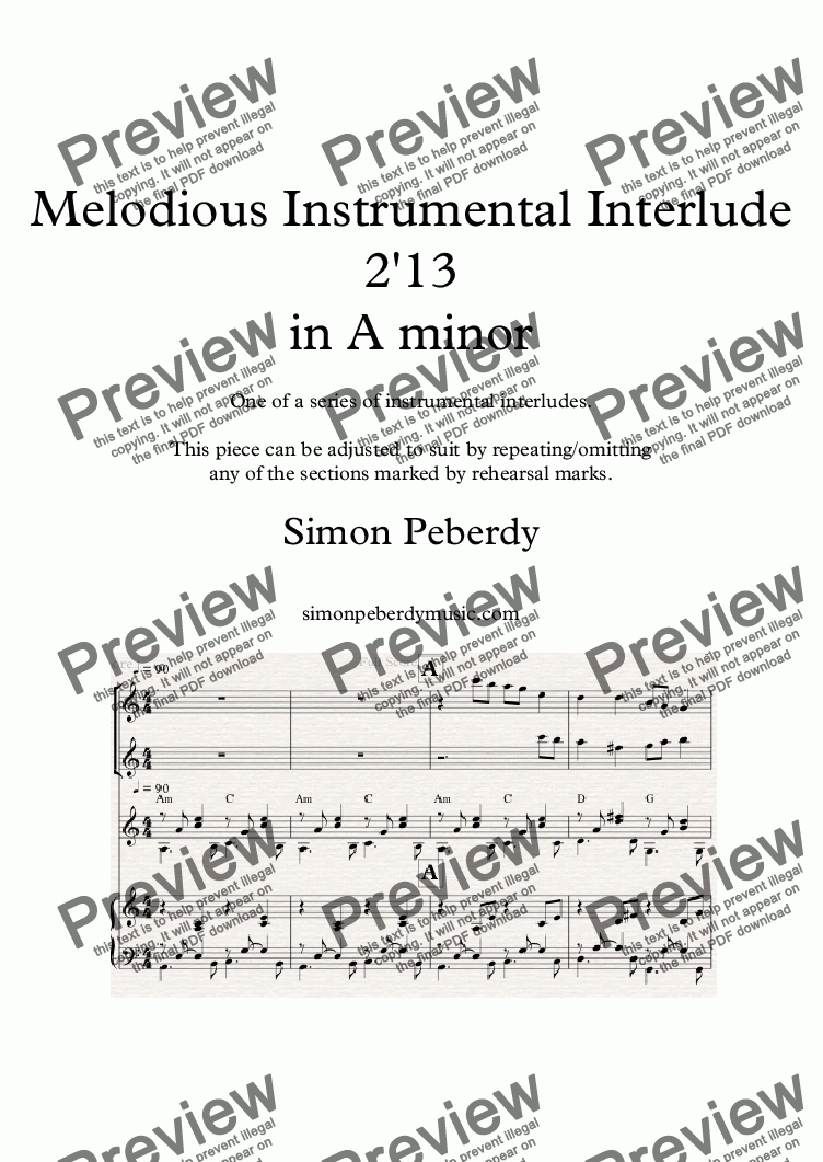 page one of Instrumental Interlude 2'13 for 2 flutes, guitar and/or piano