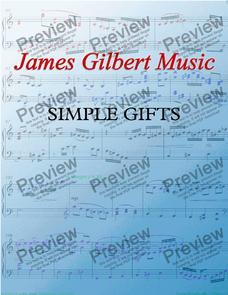 page one of SIMPLE GIFTS