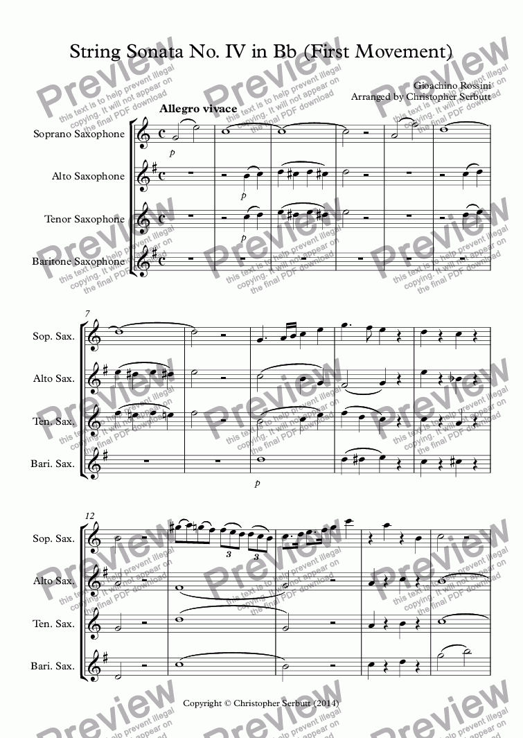 page one of String Sonata IV in Bb (Rossini) First Movement
