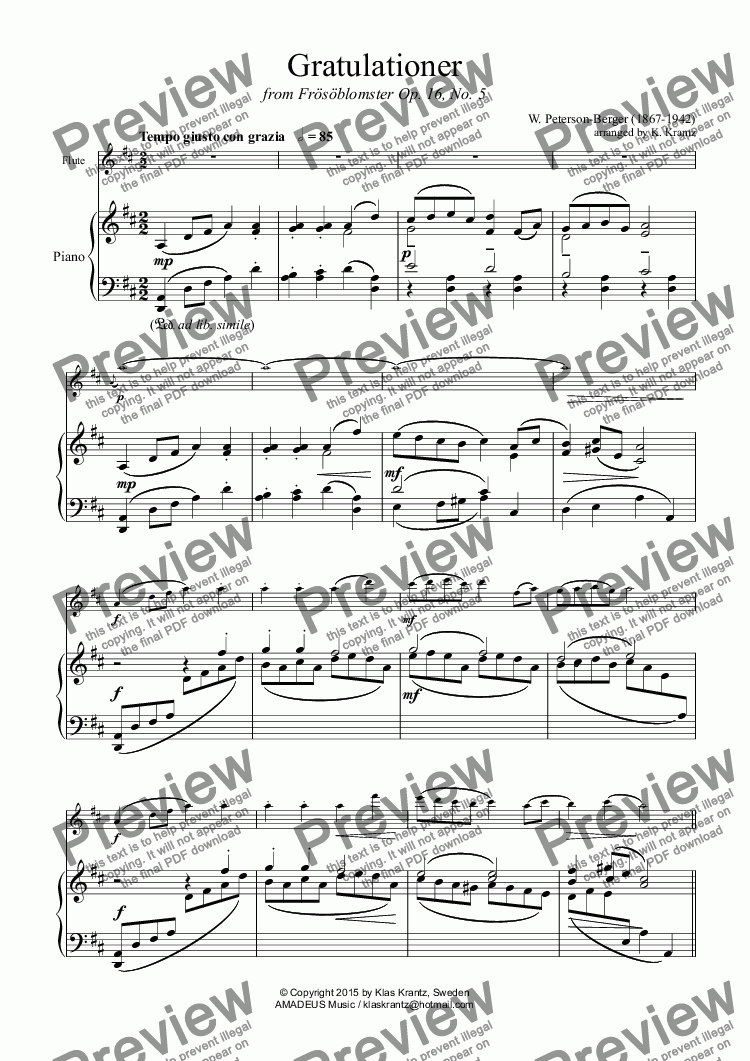 page one of Gratulationer for flute and piano