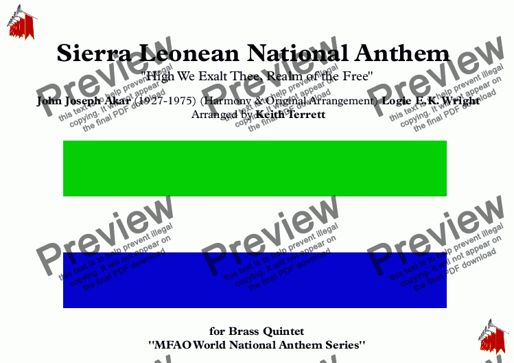 "page one of Sierra Leonean National Anthem ""High We Exalt Thee, Realm of the Free'' for Brass  Quintet (MFAO World National Anthem Series)"