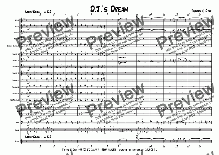 page one of D.J.'s Dream - Latin - Big Band - see live recording!