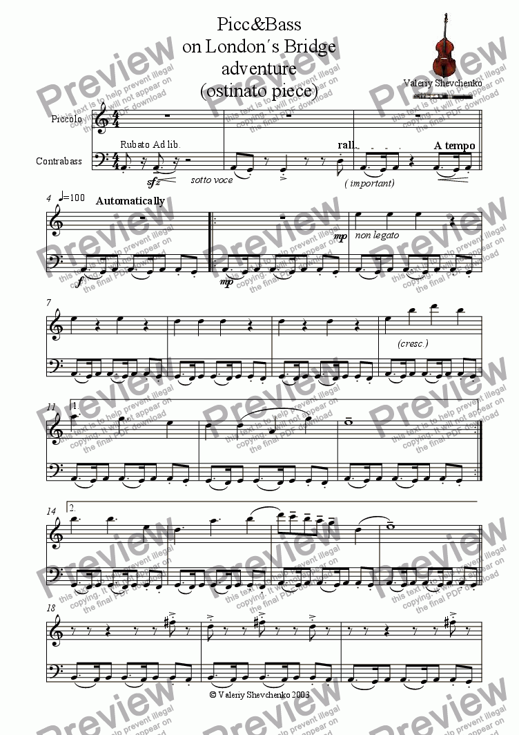 page one of  Picc&Bass  on London�s Bridge adventure (ostinato piece)ASALTTEXT