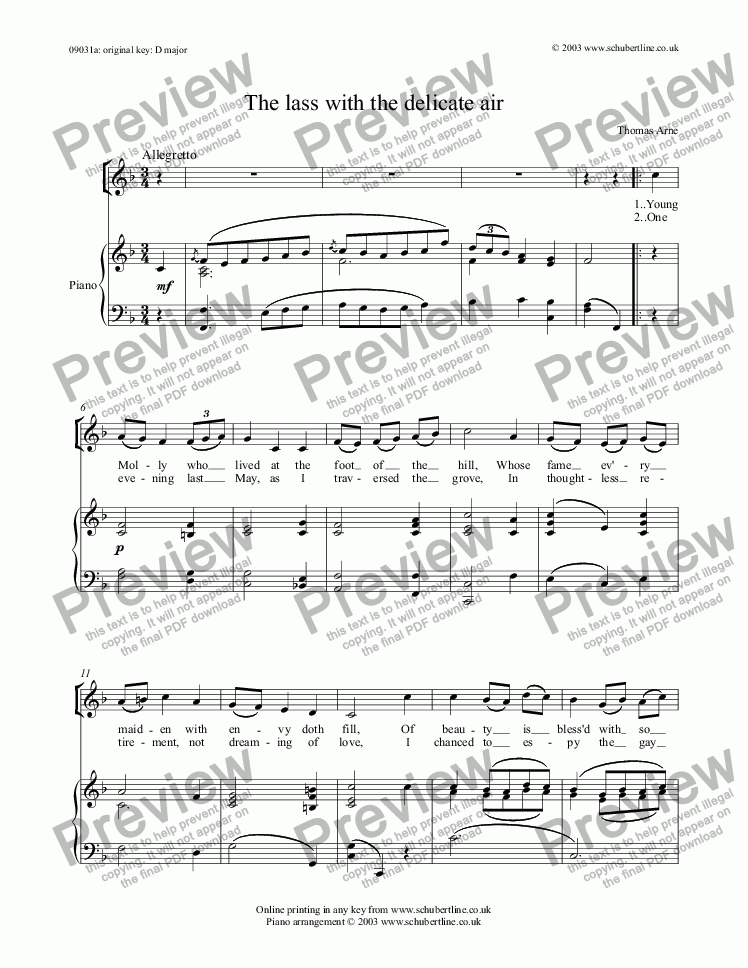 The lass with the delicate air for Voice + keyboard by Thomas Arne - Sheet  Music PDF file to download