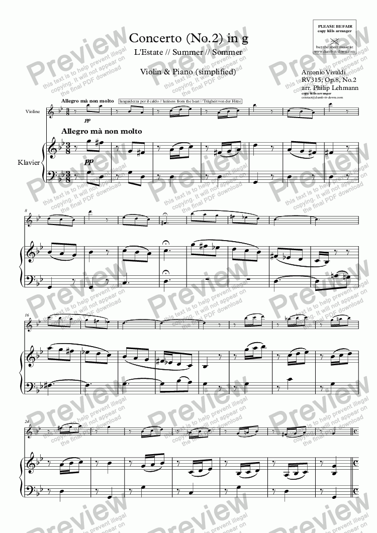 page one of Vivaldi, A. - Concerto in g (Summer) - Op.8, No.2 / RV315 - for Violin (orig.) & Piano (simplified)ASALTTEXT