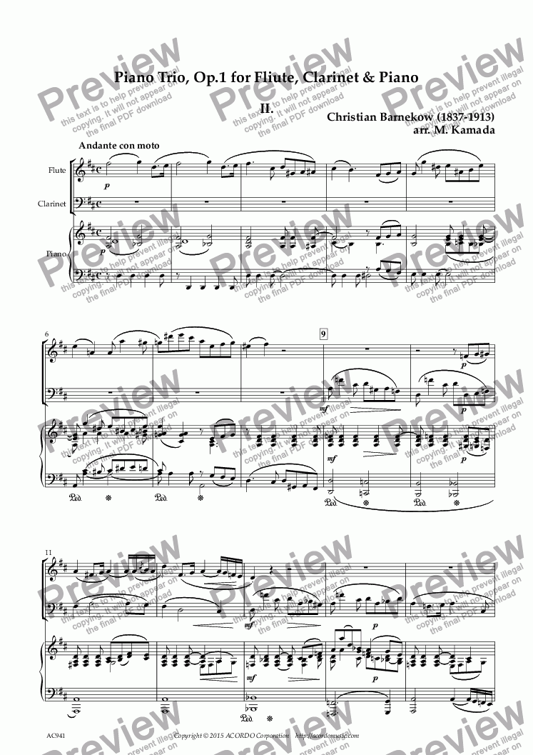 "page one of ""Andante con moto"" from Piano Trio, Op.1 for Flute, Clarinet & Piano"