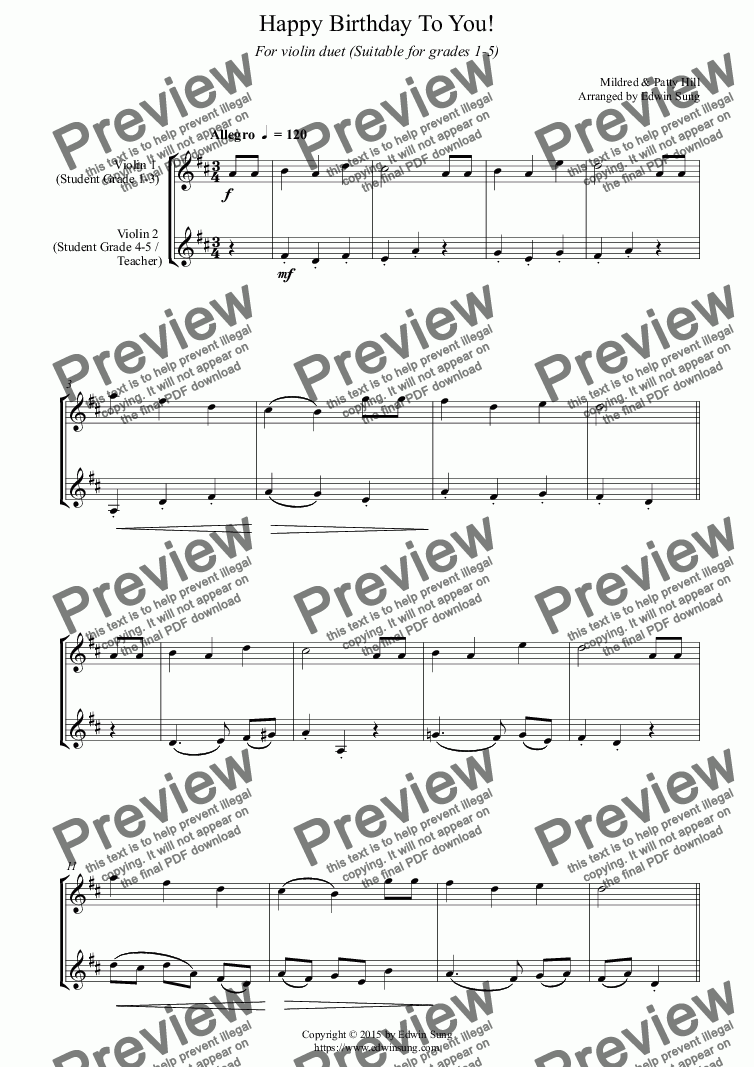 page one of Happy Birthday To You! (for violin duet, suitable for grades 1-5) (159VNDU01)