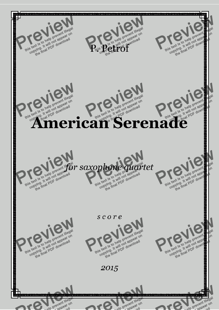 page one of AMERICAN SERENADE - saxophone quartet