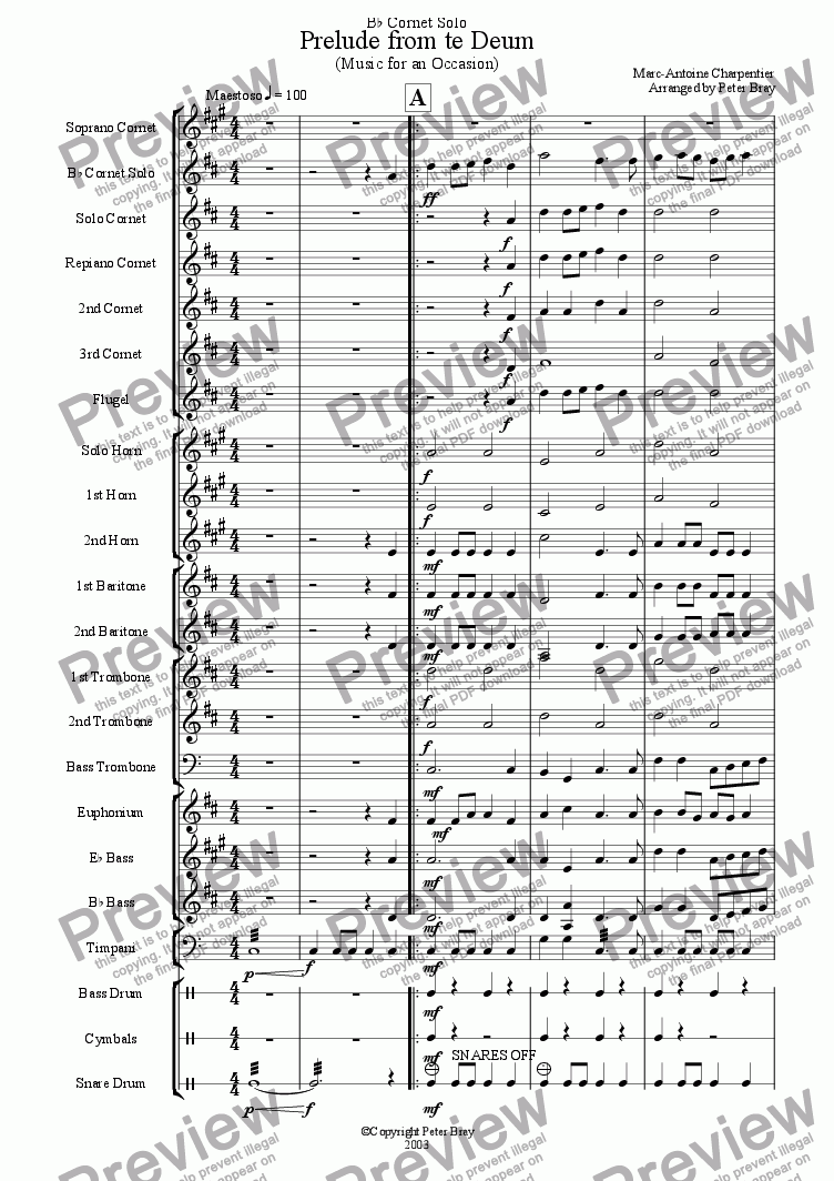 page one of Prelude from te deum