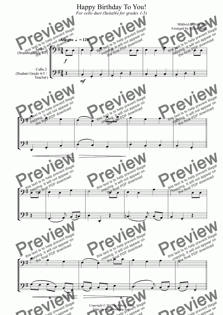 page one of Happy Birthday To You! (for cello duet, suitable for grades 1-5) (159CODU01)
