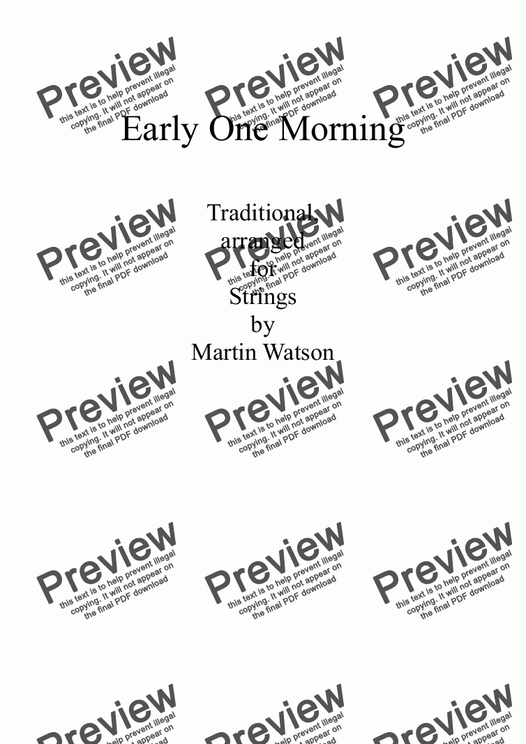 page one of Early One Morning for String Orchestra/String Quartet