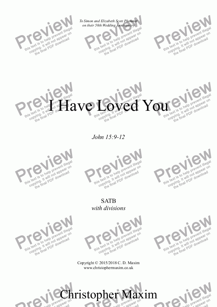 page one of I Have Loved You (motet)