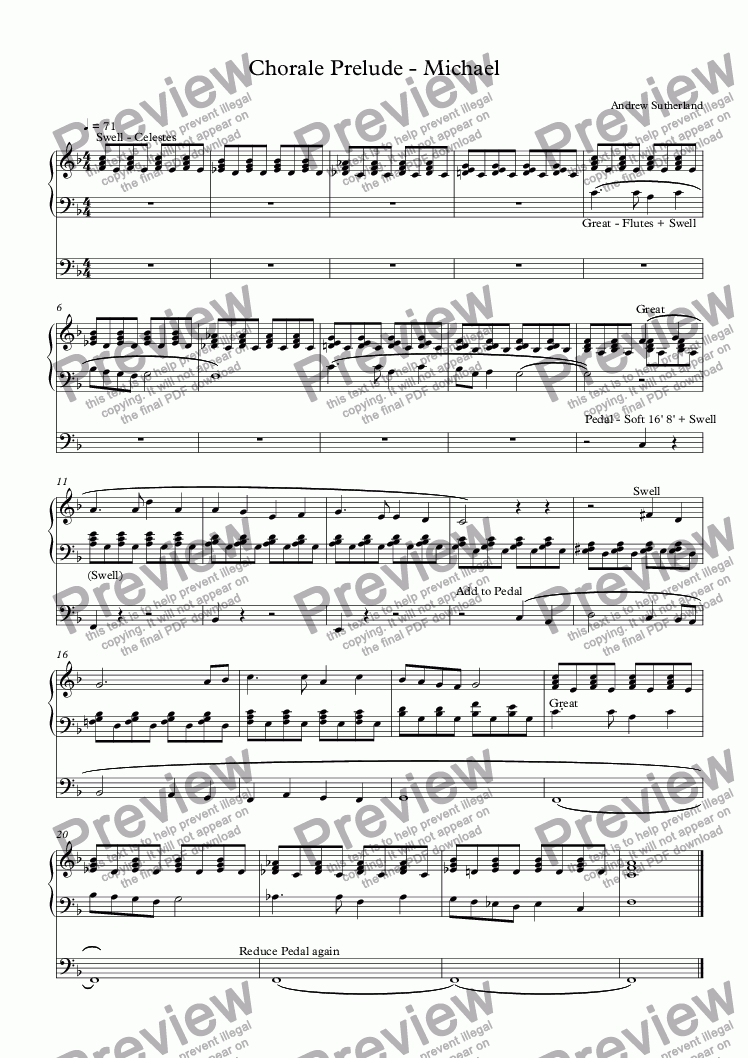 page one of Chorale Prelude - Michael