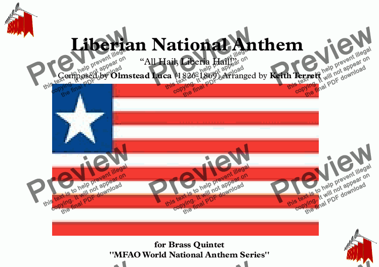 page one of Liberian National Anthem for Brass Quintet (MFAO World National Anthem Series)ASALTTEXT