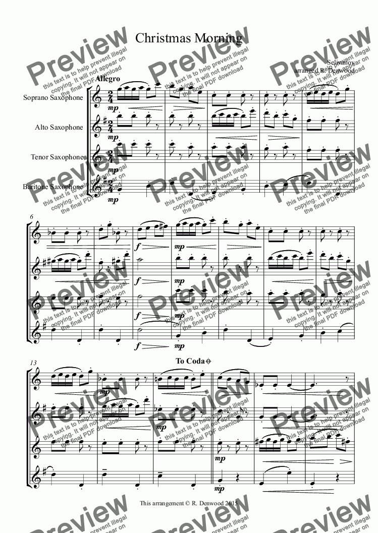 page one of Selivanov - Christmas Morning for Sax Quartet SATB