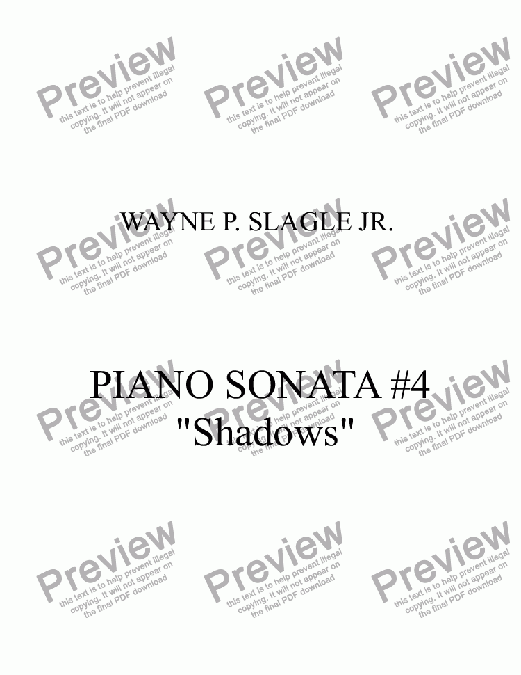 "page one of PIANO SONATA #4   ""Shadows"""